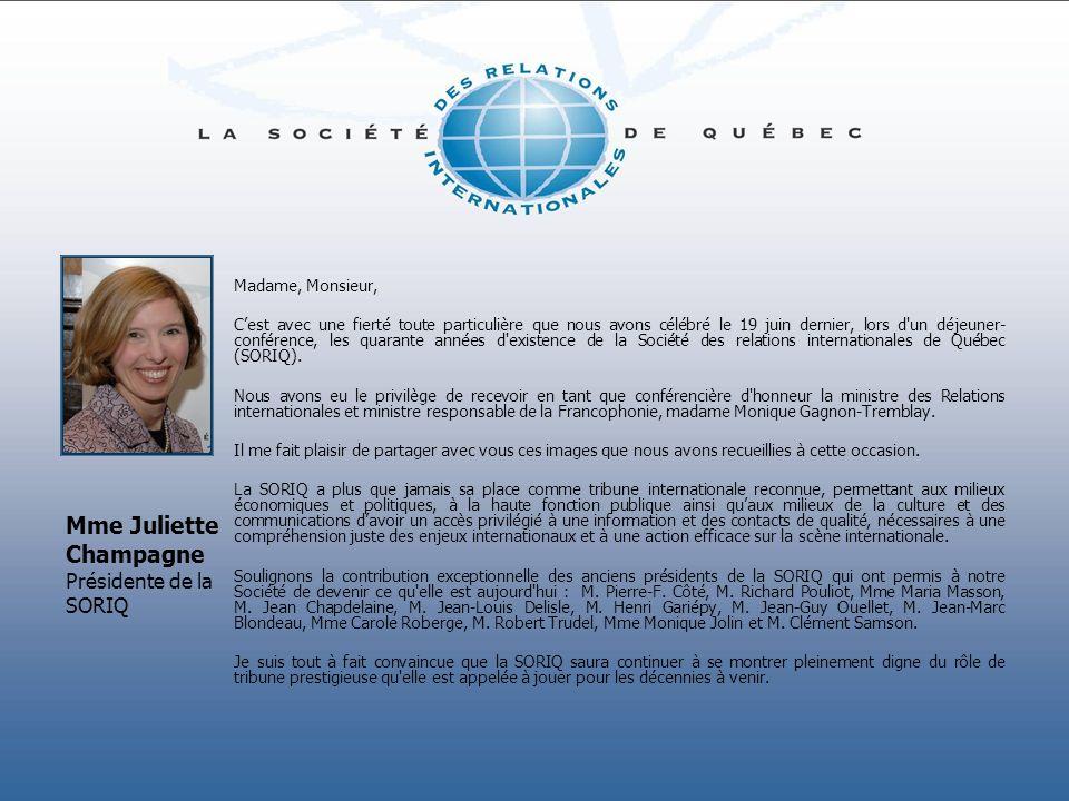 Mme Juliette Champagne Présidente de la SORIQ