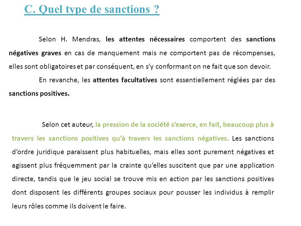 C. Quel type de sanctions