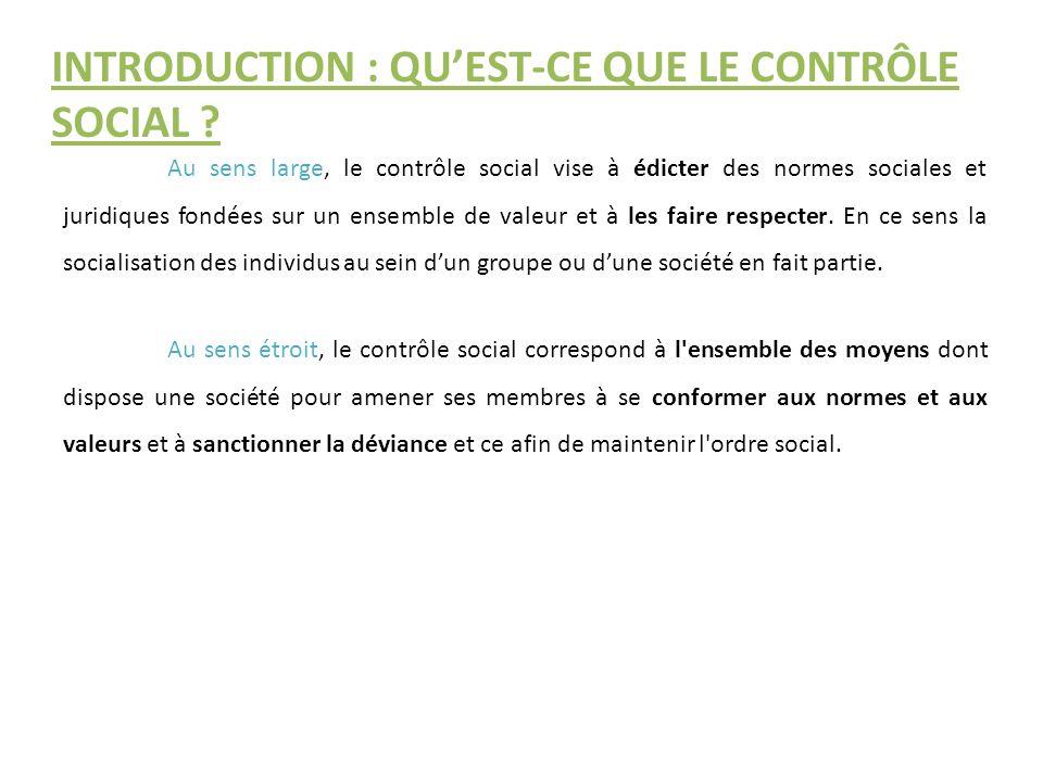 INTRODUCTION : QU'EST-CE QUE LE CONTRÔLE SOCIAL