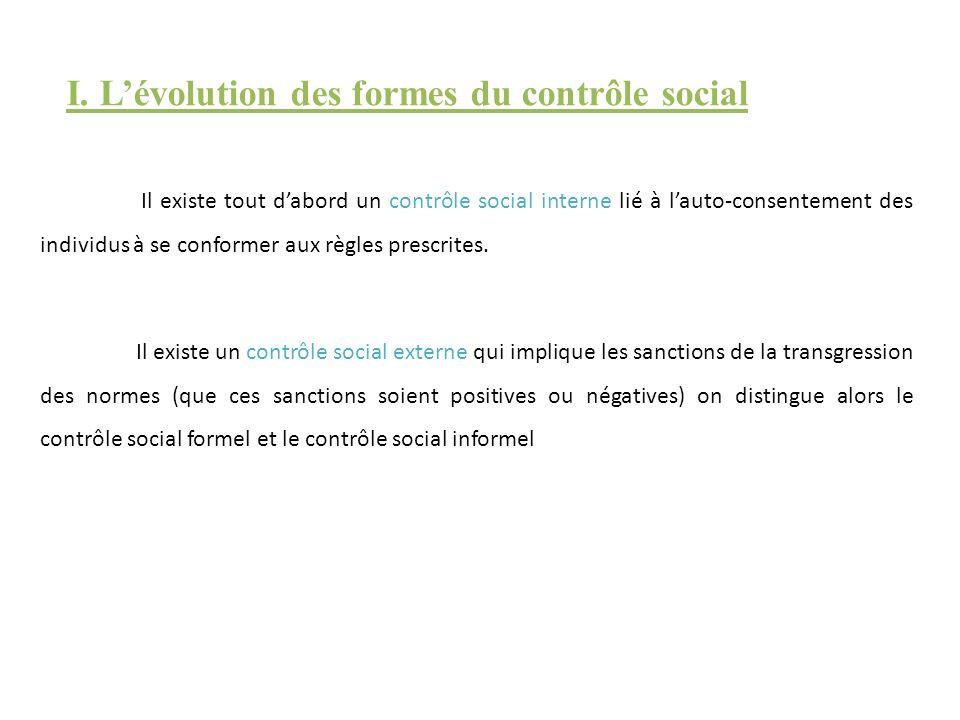 I. L'évolution des formes du contrôle social