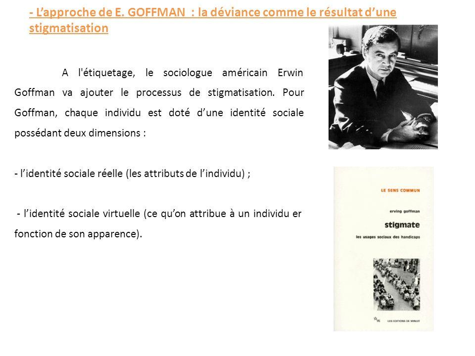 - L'approche de E. GOFFMAN : la déviance comme le résultat d'une stigmatisation