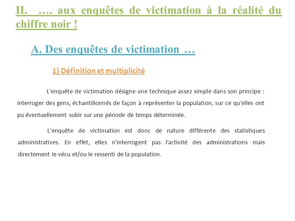 II. …. aux enquêtes de victimation à la réalité du chiffre noir !