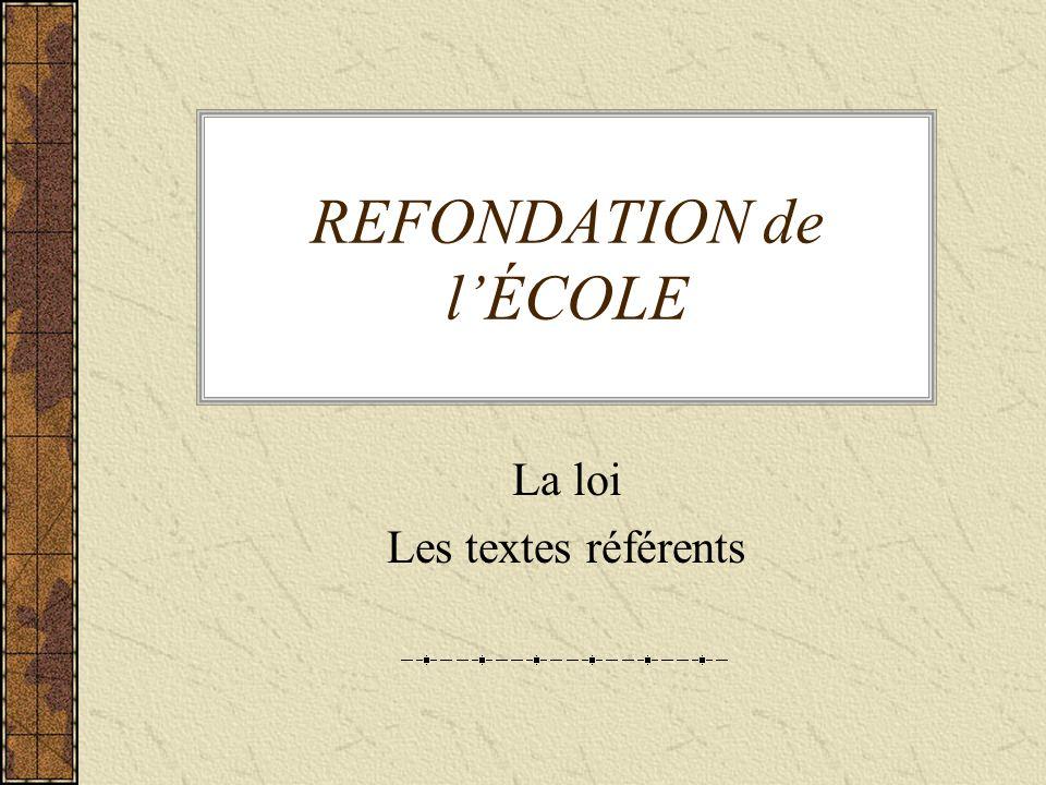 REFONDATION de l'ÉCOLE