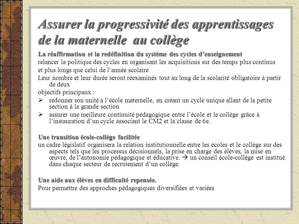 Assurer la progressivité des apprentissages de la maternelle au collège