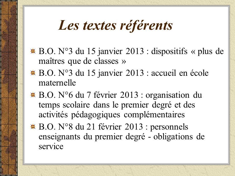 Les textes référents B.O. N°3 du 15 janvier 2013 : dispositifs « plus de maîtres que de classes »