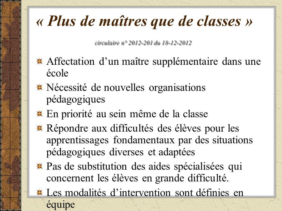 « Plus de maîtres que de classes » circulaire n° 2012-201 du 18-12-2012