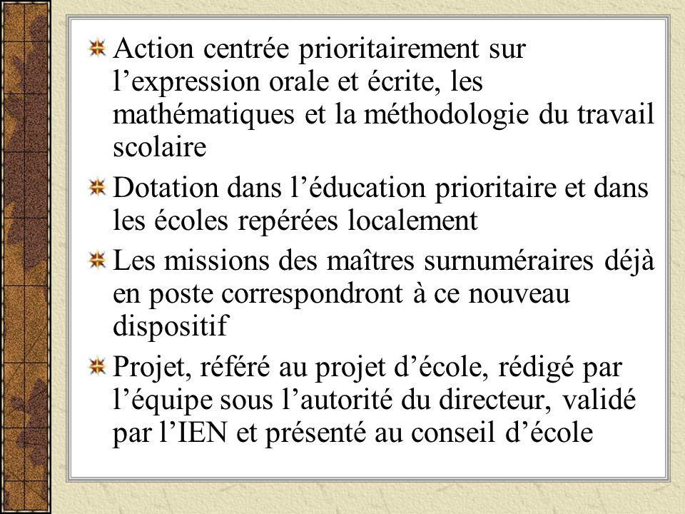 Action centrée prioritairement sur l'expression orale et écrite, les mathématiques et la méthodologie du travail scolaire