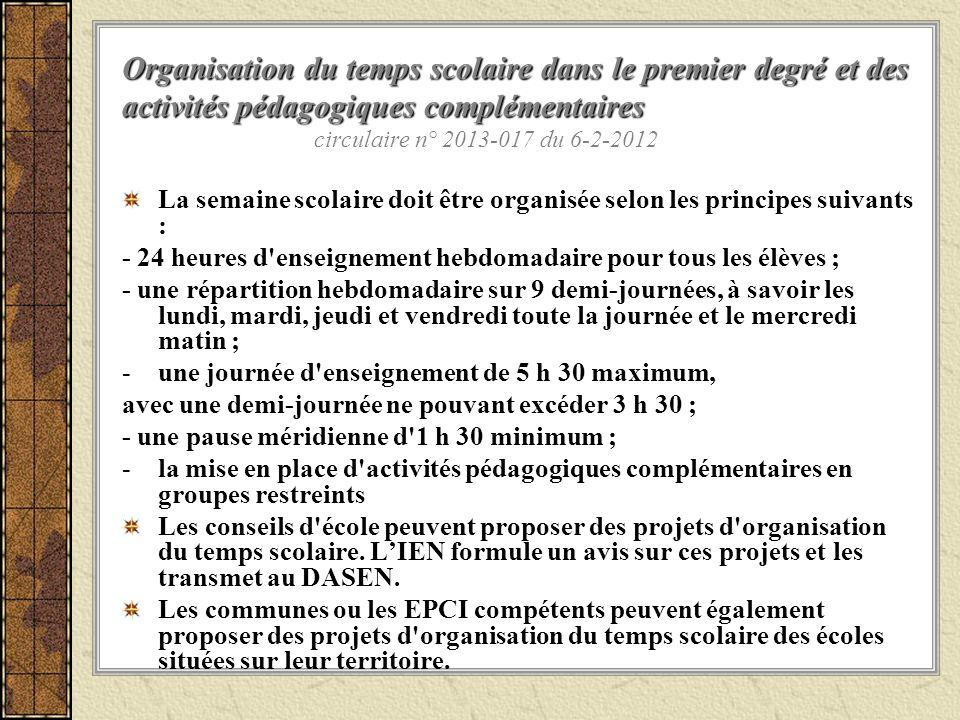 Organisation du temps scolaire dans le premier degré et des activités pédagogiques complémentaires circulaire n° 2013-017 du 6-2-2012
