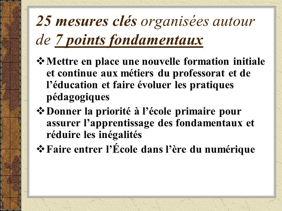 25 mesures clés organisées autour de 7 points fondamentaux
