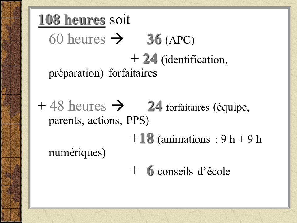 108 heures soit 60 heures  36 (APC) + 24 (identification, préparation) forfaitaires.