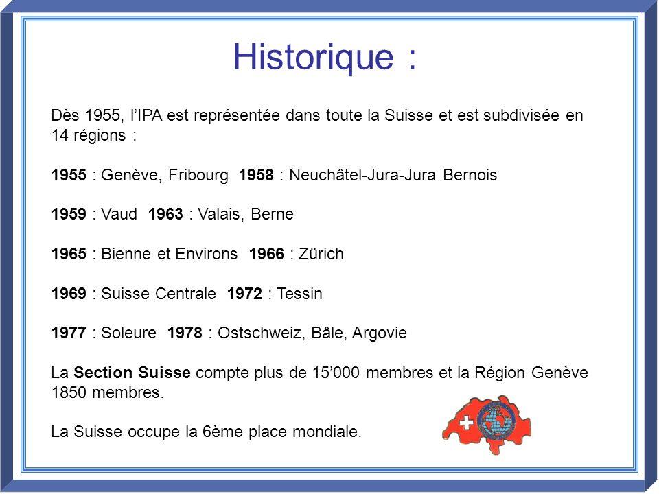 Historique : Dès 1955, l'IPA est représentée dans toute la Suisse et est subdivisée en 14 régions :