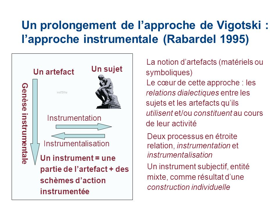 Un prolongement de l'approche de Vigotski : l'approche instrumentale (Rabardel 1995)
