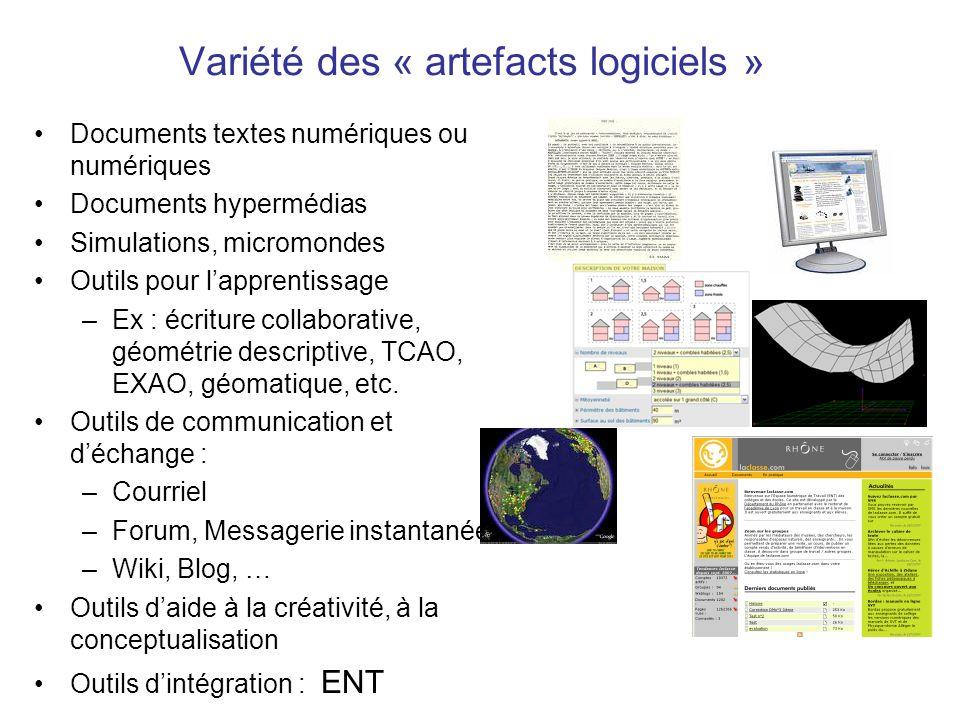 Variété des « artefacts logiciels »