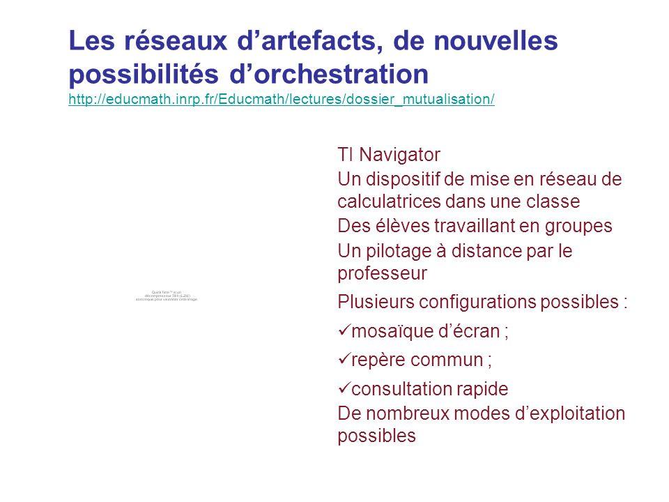 Les réseaux d'artefacts, de nouvelles possibilités d'orchestration http://educmath.inrp.fr/Educmath/lectures/dossier_mutualisation/