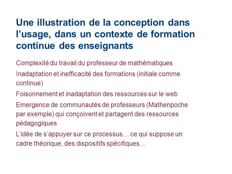 Une illustration de la conception dans l'usage, dans un contexte de formation continue des enseignants