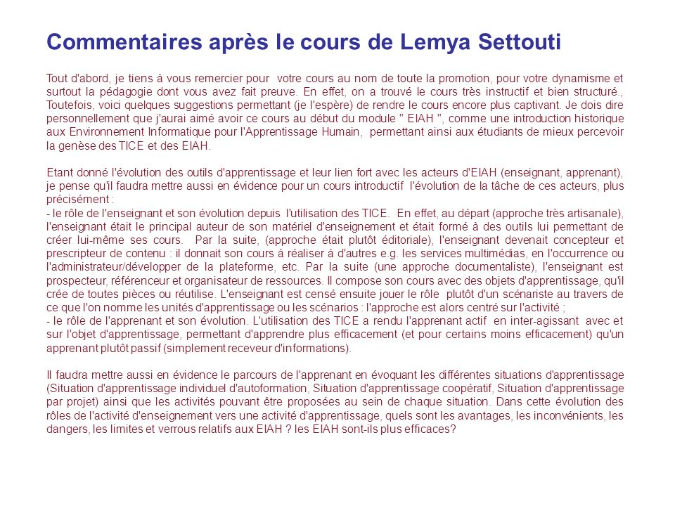 Commentaires après le cours de Lemya Settouti
