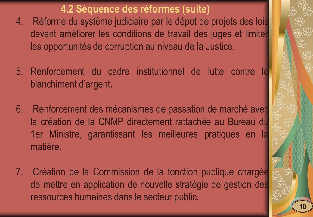 4.2 Séquence des réformes (suite)