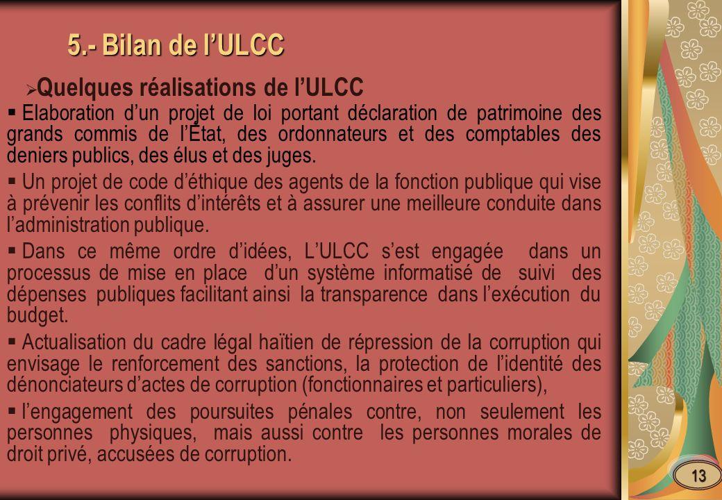 5.- Bilan de l'ULCC Quelques réalisations de l'ULCC.