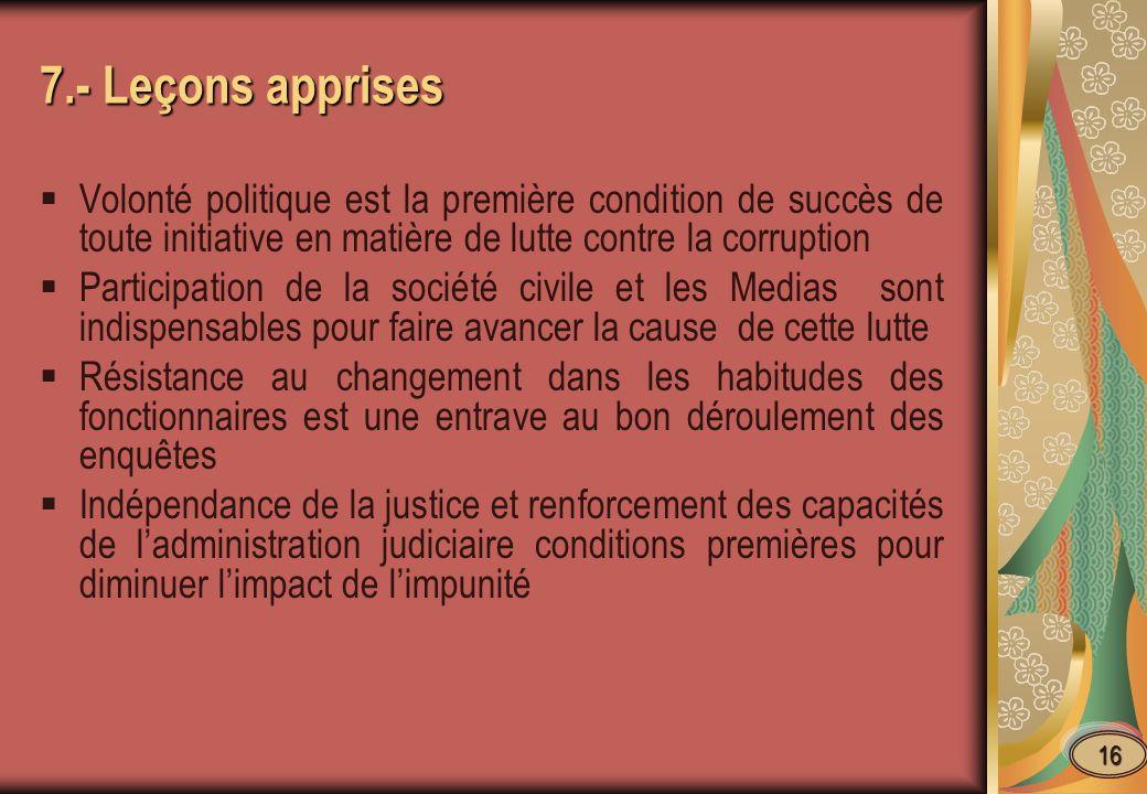 7.- Leçons apprises Volonté politique est la première condition de succès de toute initiative en matière de lutte contre la corruption.