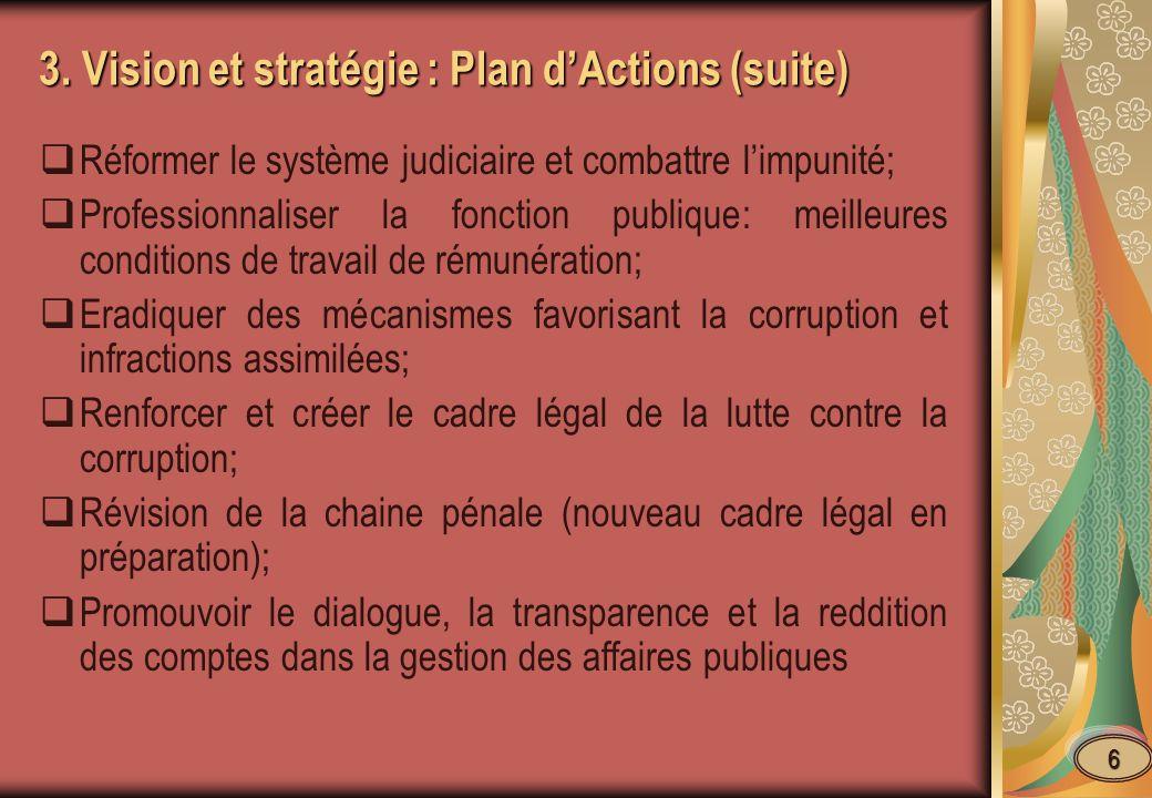 3. Vision et stratégie : Plan d'Actions (suite)
