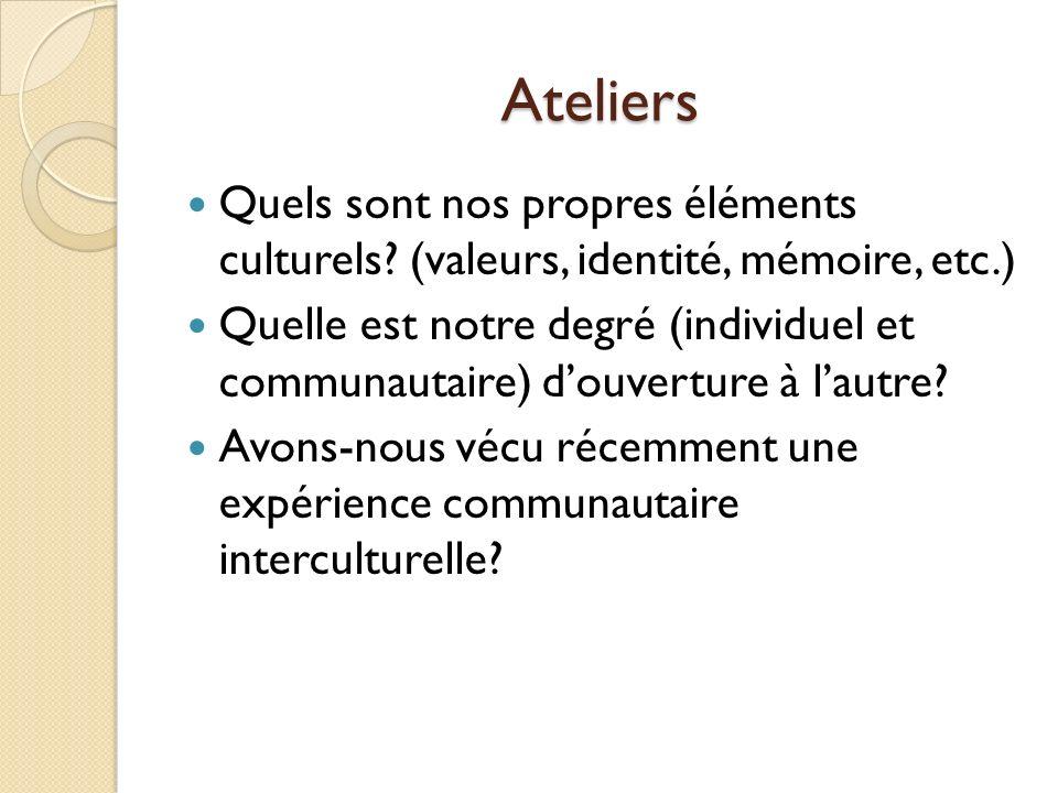 Ateliers Quels sont nos propres éléments culturels (valeurs, identité, mémoire, etc.)