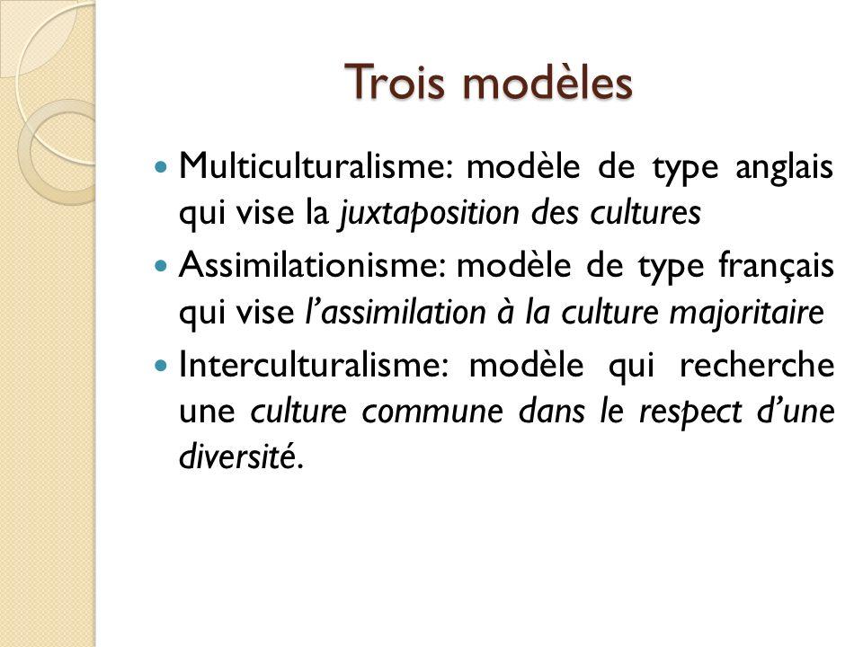 Trois modèles Multiculturalisme: modèle de type anglais qui vise la juxtaposition des cultures.