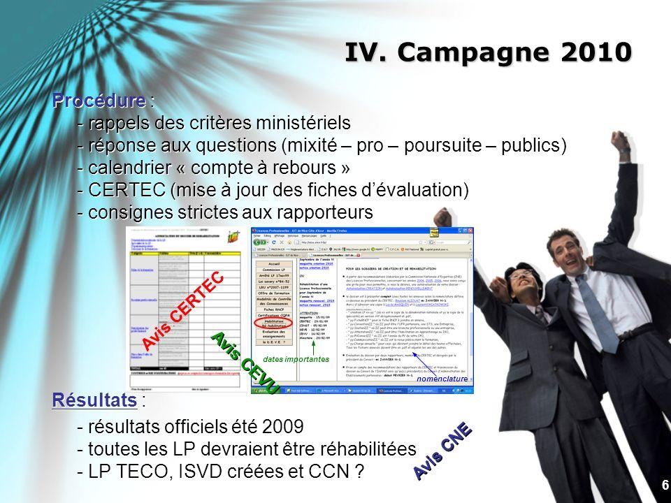 IV. Campagne 2010 Procédure : - rappels des critères ministériels