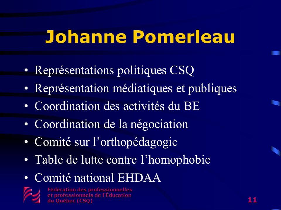 Johanne Pomerleau Représentations politiques CSQ