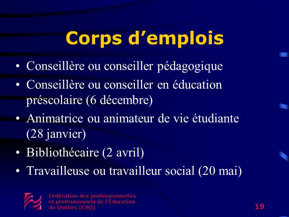 Corps d'emplois Conseillère ou conseiller pédagogique