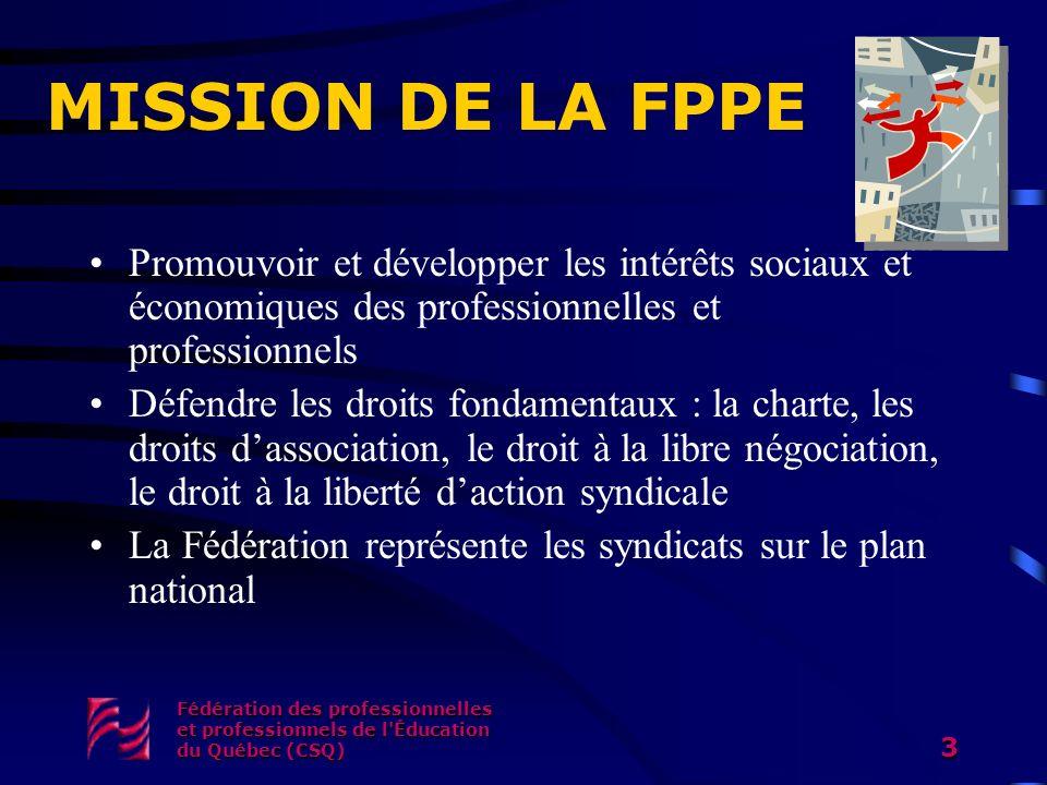 MISSION DE LA FPPE Promouvoir et développer les intérêts sociaux et économiques des professionnelles et professionnels.