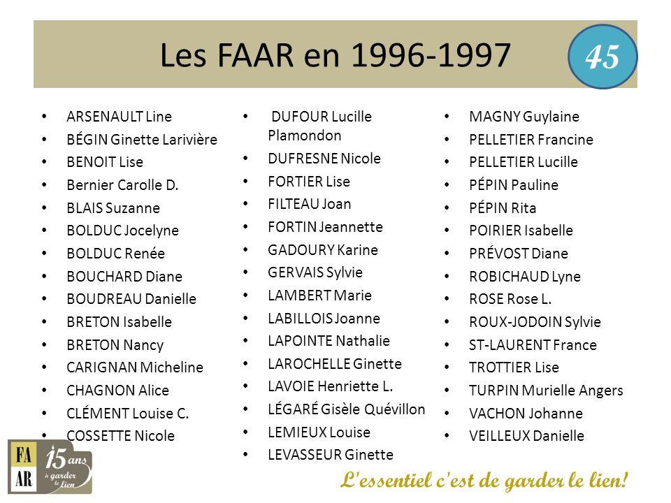 Les FAAR en 1996-1997 45 L essentiel c est de garder le lien!