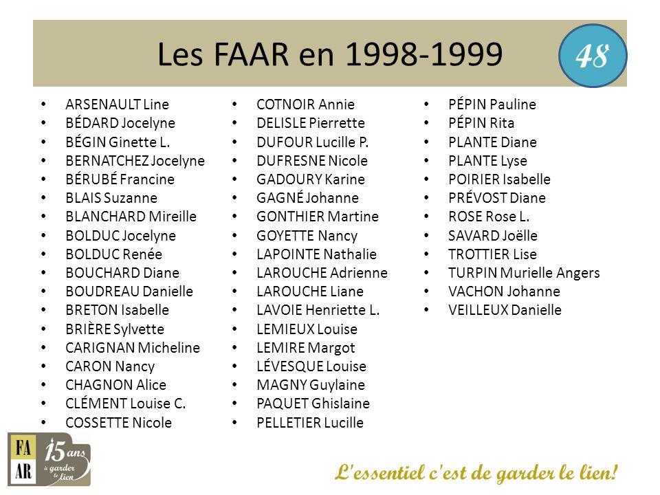 Les FAAR en 1998-1999 48 L essentiel c est de garder le lien!