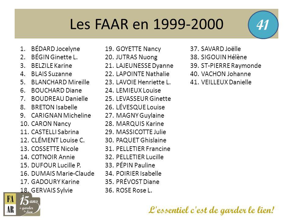 Les FAAR en 1999-2000 41 L essentiel c est de garder le lien!