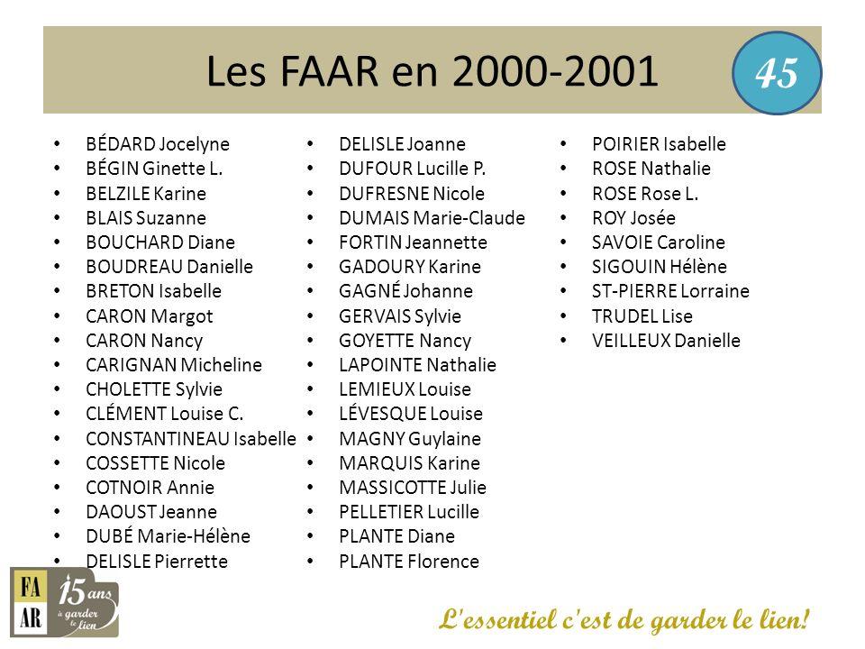 Les FAAR en 2000-2001 45 L essentiel c est de garder le lien!