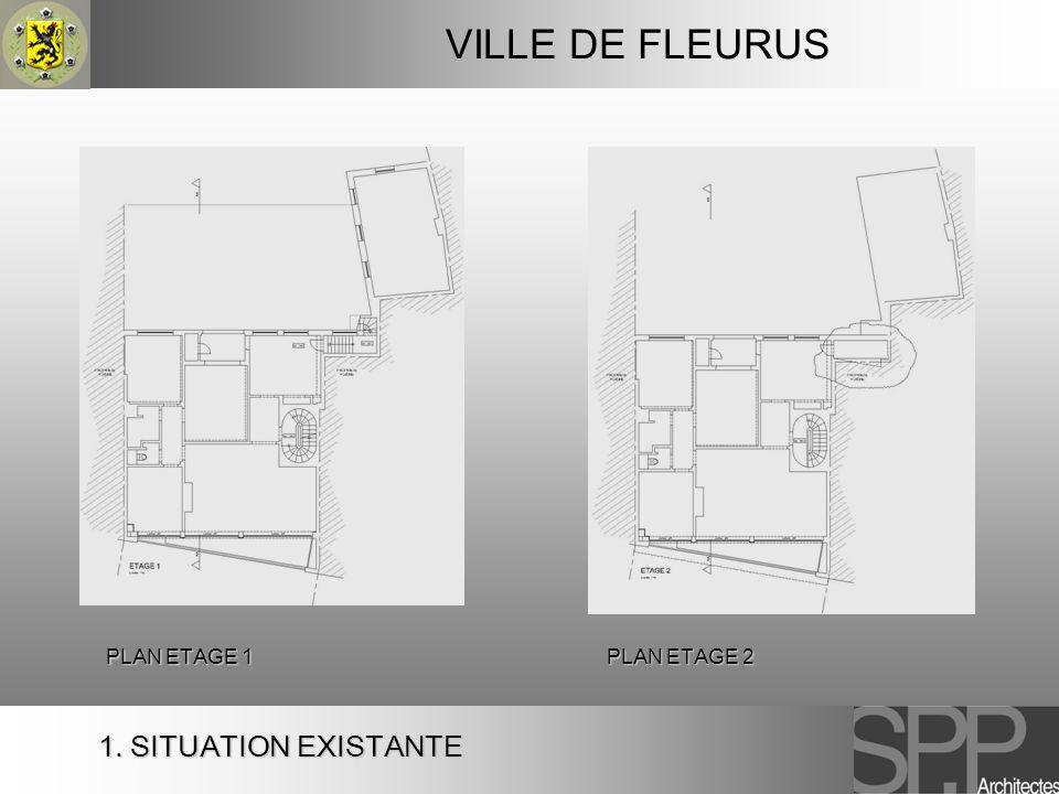 VILLE DE FLEURUS PLAN ETAGE 1 PLAN ETAGE 2 1. SITUATION EXISTANTE
