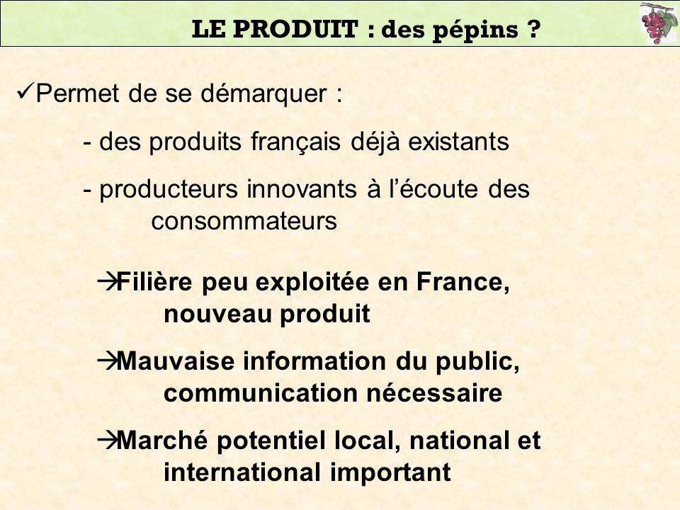 LE PRODUIT : des pépins Permet de se démarquer : - des produits français déjà existants.