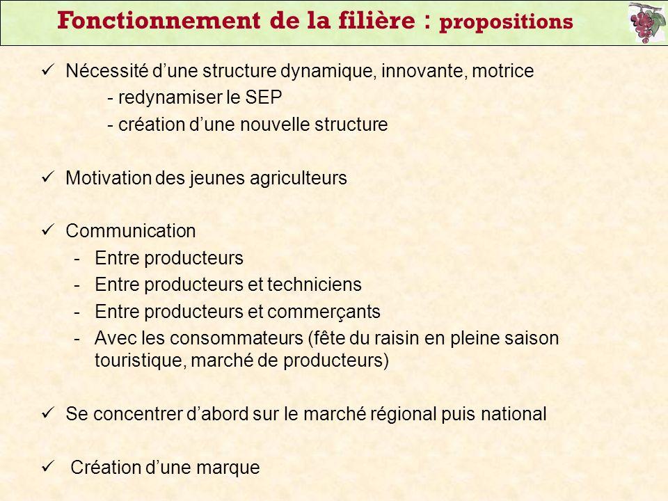 Fonctionnement de la filière : propositions