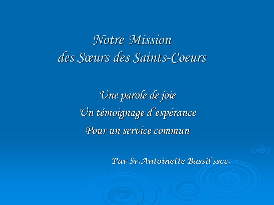 Notre Mission des Sœurs des Saints-Coeurs