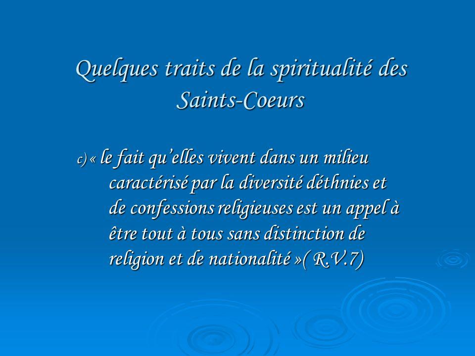 Quelques traits de la spiritualité des Saints-Coeurs