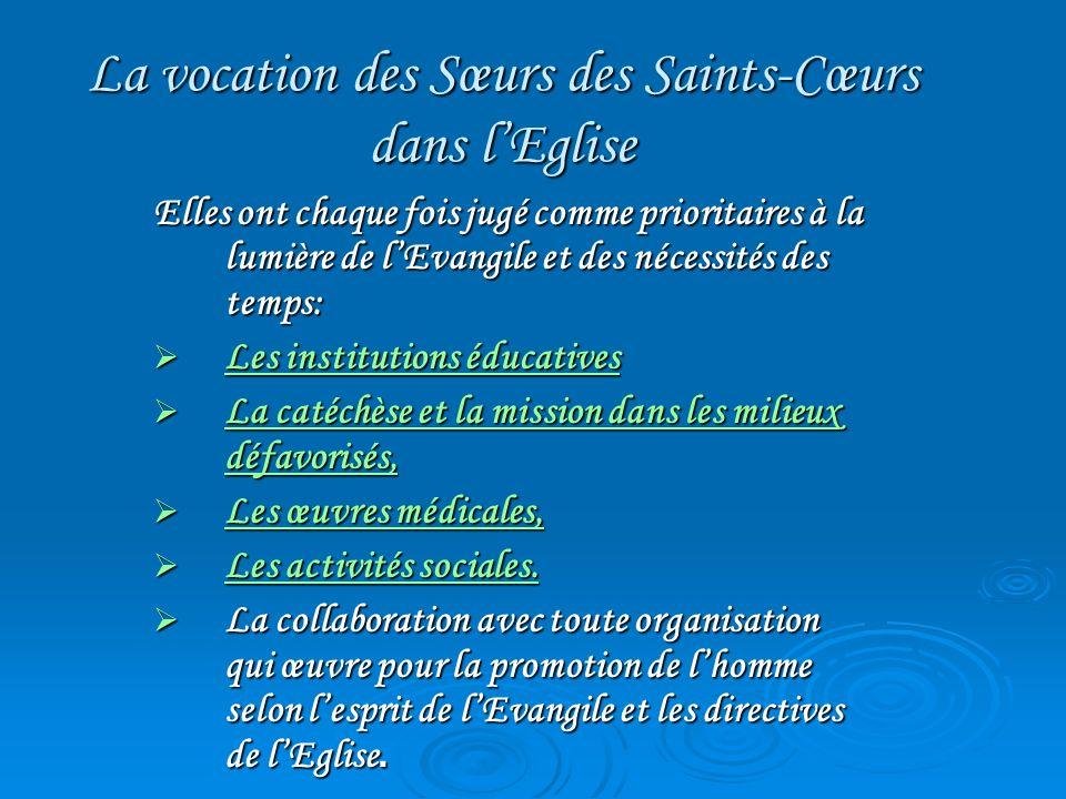 La vocation des Sœurs des Saints-Cœurs dans l'Eglise