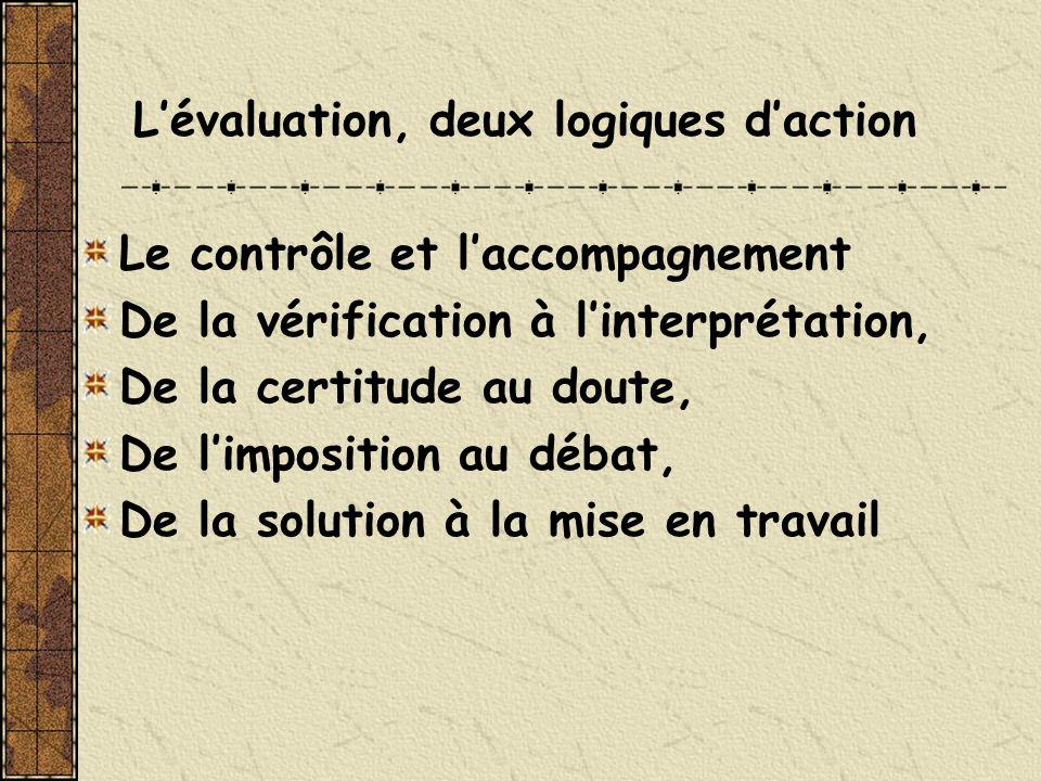 L'évaluation, deux logiques d'action