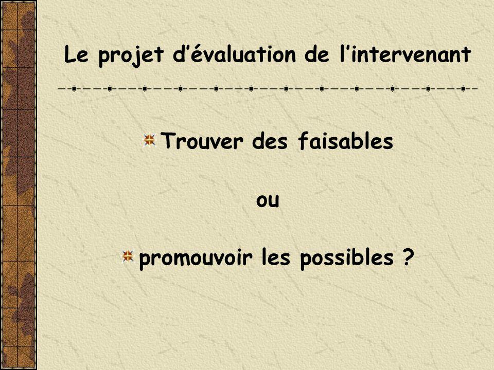 Le projet d'évaluation de l'intervenant promouvoir les possibles