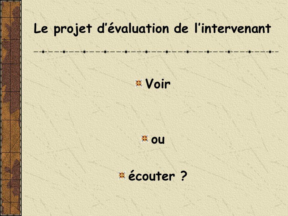 Le projet d'évaluation de l'intervenant
