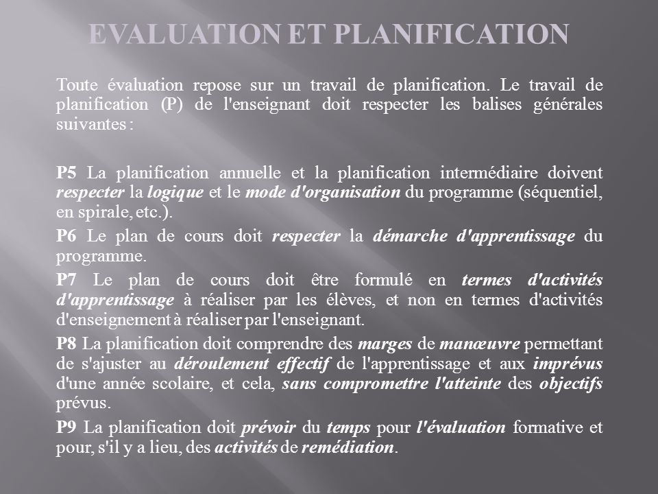 EVALUATION ET PLANIFICATION
