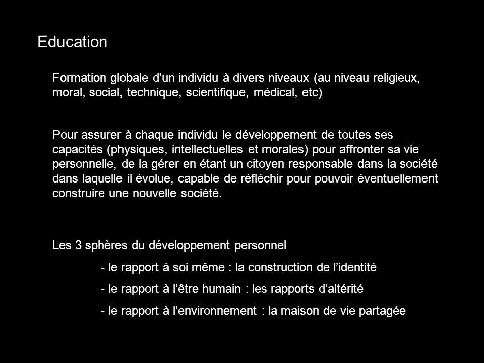 Education Formation globale d un individu à divers niveaux (au niveau religieux, moral, social, technique, scientifique, médical, etc)