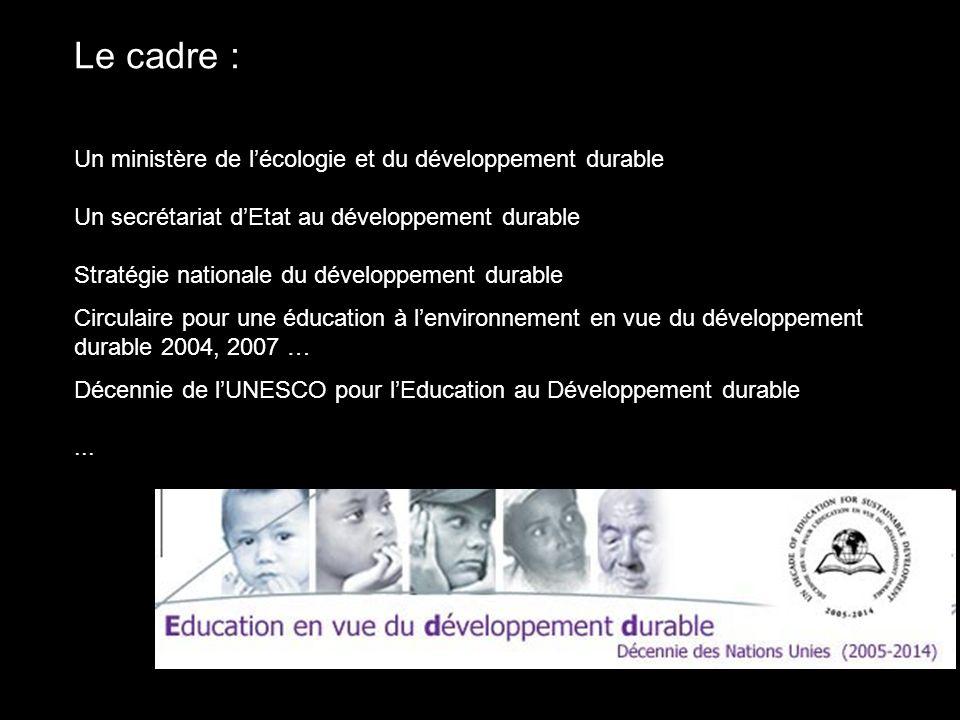 Le cadre : Un ministère de l'écologie et du développement durable