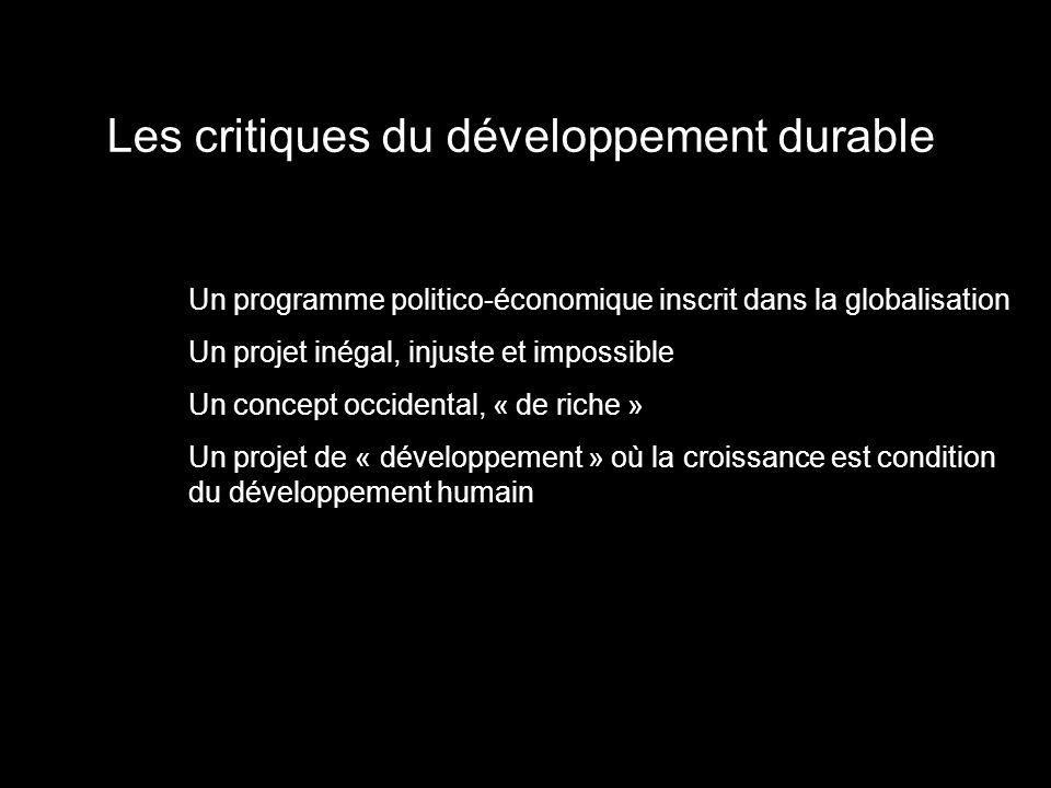 Les critiques du développement durable