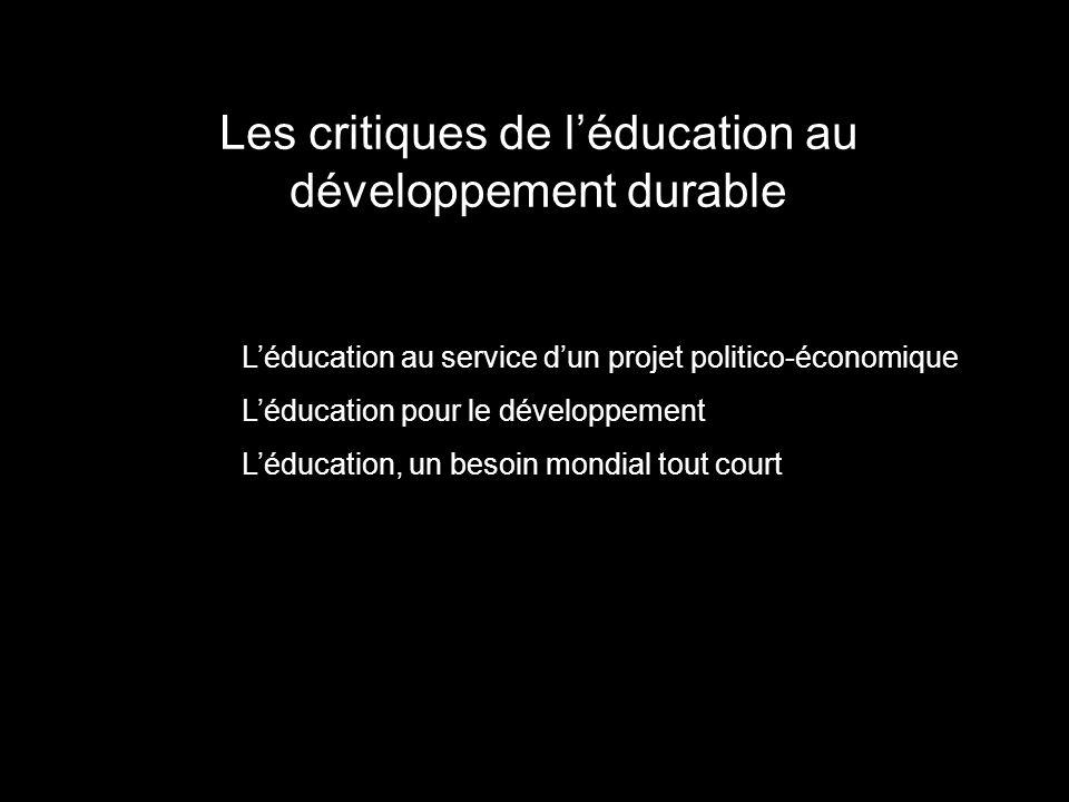 Les critiques de l'éducation au développement durable