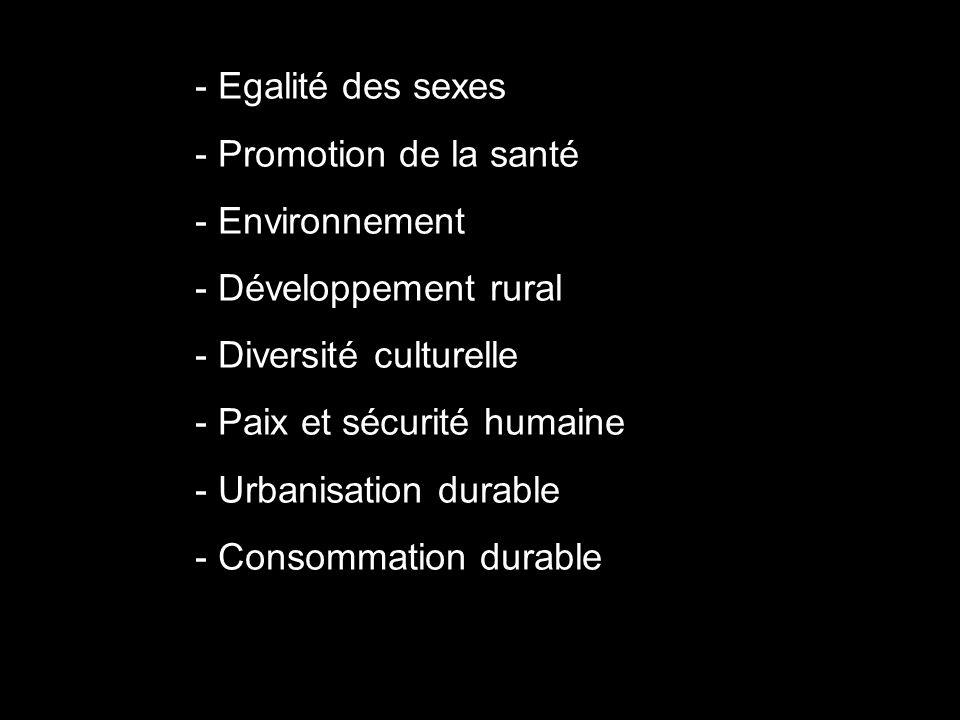 - Egalité des sexes - Promotion de la santé. - Environnement. - Développement rural. - Diversité culturelle.
