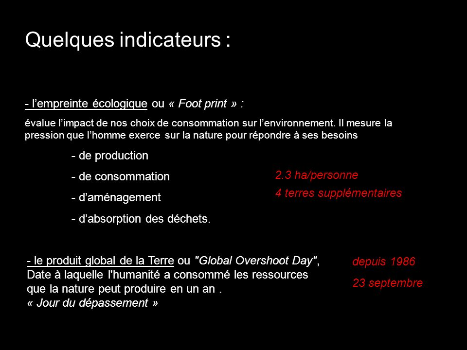 Quelques indicateurs :